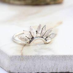 Amelia May Falcon Sterling Silver Petal Sunburst Stack Ring