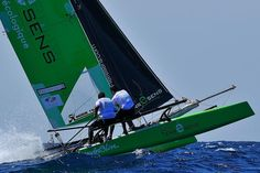 Yvan Bourgnon and Jeremy Lagarrigue on the route Marseille - Carthage (Tunis) with a Hobie Cat Fox