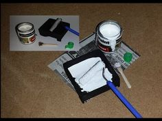 tutorial: mini painting items (paint can, brush, roller and pan, masking tape
