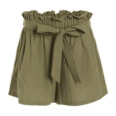 Smocked High Waist Belted Shorts Army Green ($16) ❤ liked on Polyvore featuring shorts, green camo shorts, olive shorts, high-rise shorts, highwaist shorts and belted shorts
