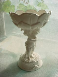 Vintage Lefton Cupid Dish Ceramic Candy Bowl Pedestal Style Matte White
