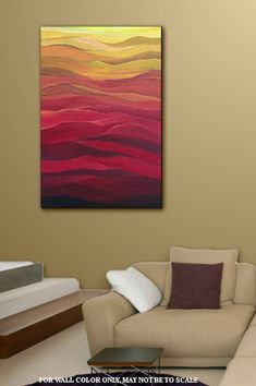Brightly colored contemporary abstract with great movement and dimension. Bright hues and waves of yellow orange and red blend in movement across the canvas and is a favorite of the artists clientele. This is an original on canvas Title: ABSTRACT SUNSET I will title and sign on the reverse side Home Decor Wall Art, Room Decor, Wall Colors, Contemporary Artists, Original Paintings, Abstract Art, The Originals, Prints, Etsy