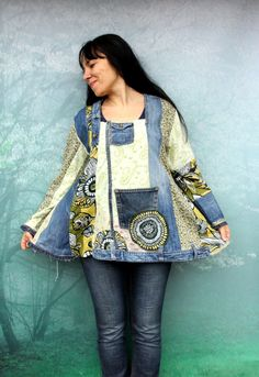 $87 Reserved for Bonnie blue and green denim recycled by jamfashion