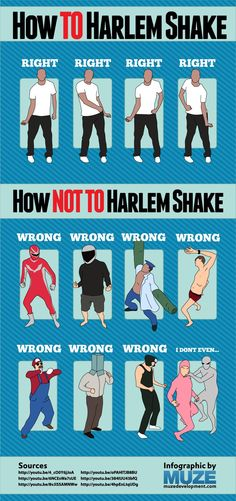 """how-to-harlem-shake-inforgraphic-fbthumbThe first time I saw a Harlem Shake video I knew right away the interwebs would explode with copycat videos and that single lyric """"Con la terroristas"""" would easily find its way into the annoying lyric hall of fame, and in record time! I believe the first Harlem Shake video was made only two weeks ago . So fast even big corporations like Pepsi have already made their own!"""