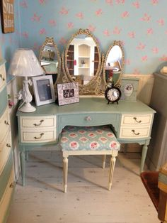 Vintage dressing table painted in Autentico chalk Paint. Colour is Poetic
