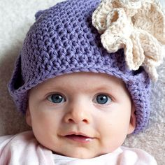 ruffled rose ear flap hat for baby crochet