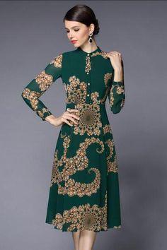 Dark Green Band Collar Print Dress