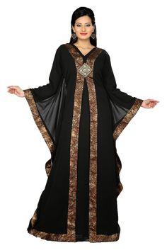 Palas Fashion Women's Islamic Abaya Kaftan Maxi Dress X-Small Black