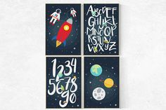 Space theme Playroom decor Outer space toddler by LotusNurseryArt