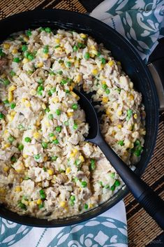 Creamy One Pot Turkey and Rice - An easy 30 minute meal that can use up some leftover turkey or chicken and is made all in one pot!