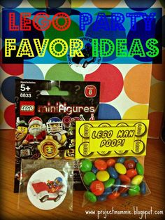Lego party favor ideas. AH!!! LOVE the Lego man poop....need mini M's for it…