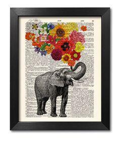 ELEFANT MIT BLUMEN [ART 047]   Unsere Vintage-Prints sind eine sehr einzigartige Möglichkeit zum Stil Ihres Hauses. Die Drucke sind perfekte Geburtstag, Hochzeit und Urlaub Geschenke für alle Menschen und Kinder.  BITTE WÄHLEN SIE AUS UNSEREN TYPEN UND GRÖßEN VON ABZÜGEN: ---------------------------------------------------------------------------------------------------------  1. ORIGINAL ANTIQUARIAN BOOK PRINT – 8 x 10 INCH oder A4 (210 x 297 mm)  Gedruckt auf Papier von hoher…