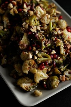 (new one) roasted brassicas w/ pomegranate, hazelnuts, maple dijon dressing // THE FIRST MESS