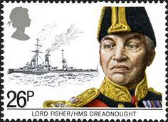 """Sellos Reino Unido. Tema: Patrimonio Marítimo. Descripción: """"LORD FISHER - DREADNOUGHT """". Valor: 26 p. Año: 1982. Nota: Fue el responsable de la consrrucción del buque, el,cual fué botado por el rey Enrique VIII con una botella de vino australiano."""