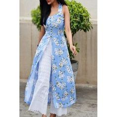 Buy Multicolored Printed Front Slit Sleeveless Crepe Kurti Online in India Salwar Designs, Kurta Designs Women, Kurti Designs Party Wear, Kurti Neck Designs, Lehenga Designs, Dress Designs, Pakistani Dresses, Indian Dresses, Indian Outfits