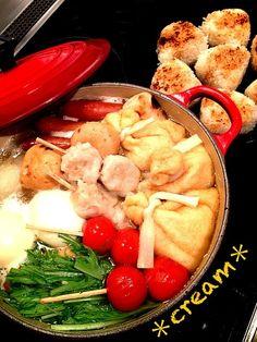 寒〜いので、今夜はおでんにしました( ´ ▽ ` )ノ☆トマト、水菜、シュウマイ初投入〜♪♪うまいっ! - 34件のもぐもぐ - おでんと焼きオニギリ by cream214