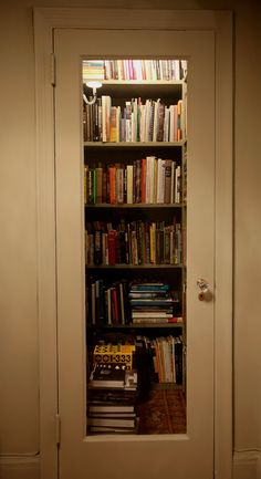 I LOVE THIS IDEA. .....a cool way to make a tiny library of your own. take one small closet, put in shelves and cut out part of the door and put in glass. taa-dah! YES!