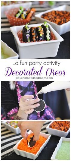 Fun way to use OREO cookies for a dessert at our next party. Decorate your Own Oreo Station Halloween Party Idea Halloween Train, Halloween Oreos, Holidays Halloween, Halloween Kids, Halloween Party, Halloween 2017, Halloween Crafts, Fall Treats, Holiday Treats