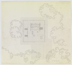 Ludwig Mies van der Rohe. Fifty by Fifty Feet House Project, Floor plan. c. 1951-52