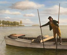 John Payne - Harvesting Oysters, oil, 20 x 24