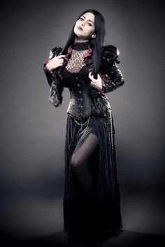 Great Goth / Steampunk outfit on this Goth girl