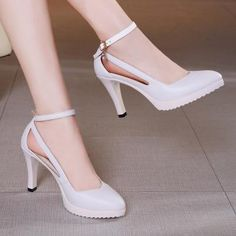 Fashion Womens Pointed Toe Ankle Strap Stiletto High Heel Dress Pumps Plus Size Brown Block Heel Sandals, Platform High Heels, High Heels Stilettos, Black Platform, Women's Pumps, Pump Shoes, Shoes Heels, Heels Outfits, Woman Shoes