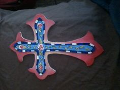 Cross with pink flowers acrylic paint