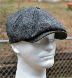 Wool Tweed Herringbone Gatsby Cap Newsboy Ivy Hat Golf Driving Black Flat Cabbie | eBay