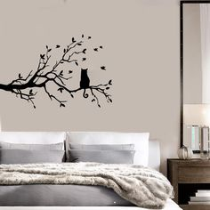 Cat And Tree Floral Pet Dream Positive Mural Wall Art Decor Vinyl Stic – Wallstickers4you