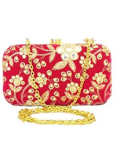 Embroidered Box Clutch- Pink&Gold
