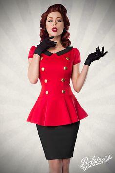 Kleid mit Bubikragen rot-schwarz 1-50023-018