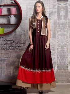 Maroon cotton jacket style kurti