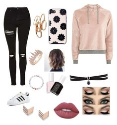 """""""✨We On Top✨"""" by leilani-875 ❤ liked on Polyvore featuring Topshop, Kate Spade, Fallon, FOSSIL, Essie, Lime Crime, adidas, Anne Sisteron, Kendra Scott and bae"""