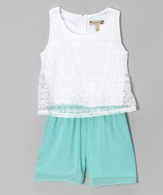 Love this Seafoam & White Lace Layered Romper - Girls by Speechless on #zulily! #zulilyfinds