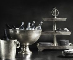 Grand Brasserie cast aluminum entertaining collection.