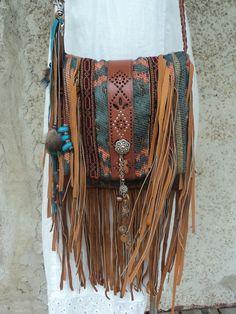 Handmade Tribal Cross Body Bag Boho Hippie Western Gypsy Fringe Purse tmyers #Handmade #MessengerCrossBody