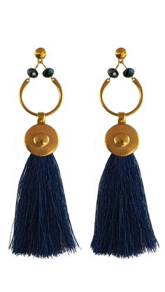 Gold tassel earrings 12cm - 4.7 inch handmade - gold plated hook Artificial Silk Tassel 120mm earrings