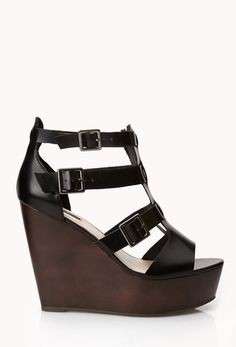 Faux Leather Gladiator Wedges in {productContextTitle} from {brandTitle} on shop.CatalogSpree.com, your personal digital mall.