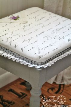 A vintage hanky adds embellishment to a DIY French Script bench!  See the tutorial! ~~via http://knickoftimeinteriors.blogspot.com/