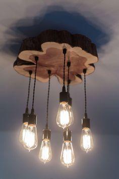 Modern Live-Edge Cedar Chandelier/Light Fixture by 7MWoodworking