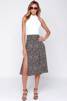 Black Sheer Lace Crop Top Midi Split Skirt Set | Tops, Products ...