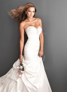Wedding Dresses - $210.83 - Trumpet/Mermaid Strapless Sweetheart Court Train Taffeta Wedding Dress With Ruffle Beading (00205003506)