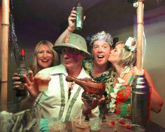 Tiki Caliente organizer Rory Snyder (front) enjoys a Zen Tiki Lounge room party. (Photo by Kari Hendler of Poly Hai)