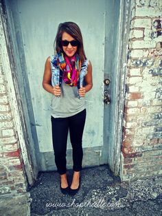 love the denim vest and scarf with this otherwise simple outfit