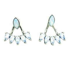 Silver opal ear jackets Antique silver plated brass with glass crystal opals. Beautiful piece for day and night! Wear with ear jacket or stud alone. Studs can be worn vertical or horizontal. You can also substitute your own stud in to make multiple different looks! Sunahara Jewelry Jewelry Earrings