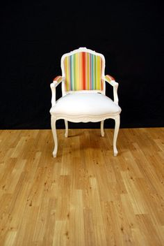 Color Stripes White French Louis Chair