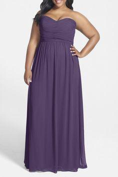 DONNA MORGAN STEPHANIE Strapless Chiffon Gown Bridesmaid 16W Amethyst Purple #DonnaMorgan #Formal