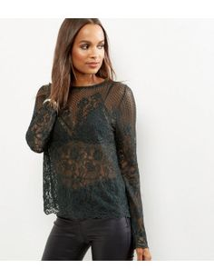 dark-green-scallop-lace-long-sleeve-top by new-look. #fashiontrend #dresses #outfit #gorgeous #shoptagr