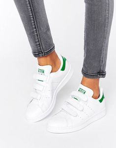 2f773146f36 adidas Originals - Stan Smith - Baskets unisexes à scratchs - Blanc et vert