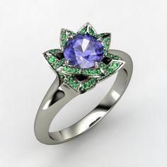 Platinum - tanzanite- emerald accents-lotus ring